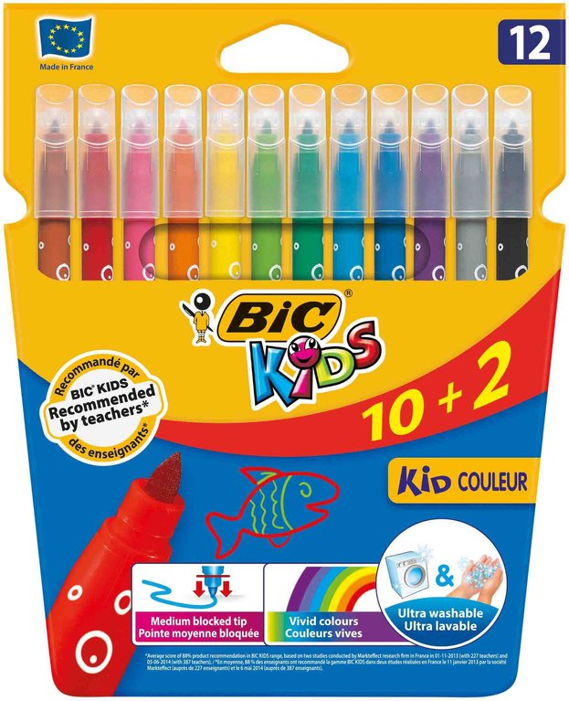 Estoig 12 retoladors BIC Kids assortits de colors