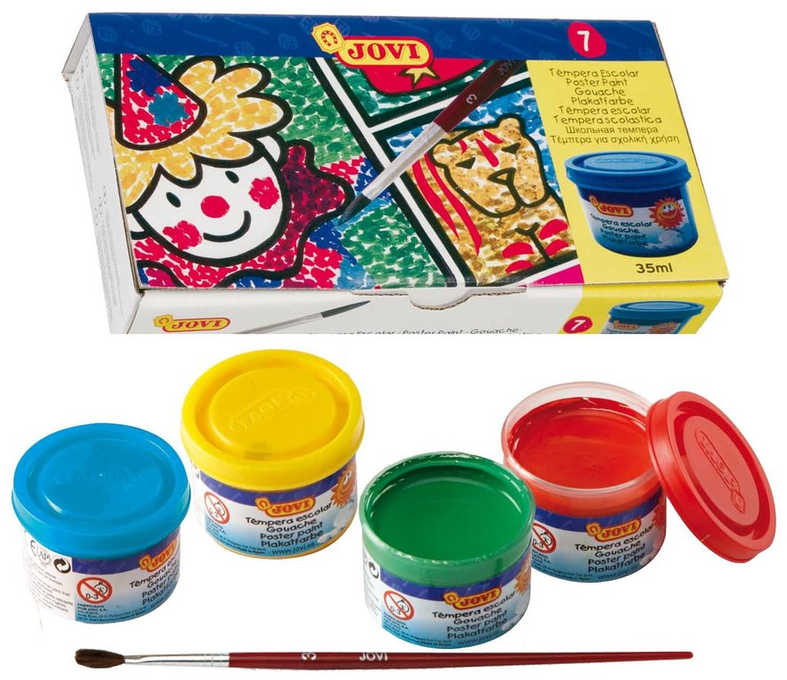 Capsa 7 pots témpera JOVI de 35 ml assortits de colors amb pinzell