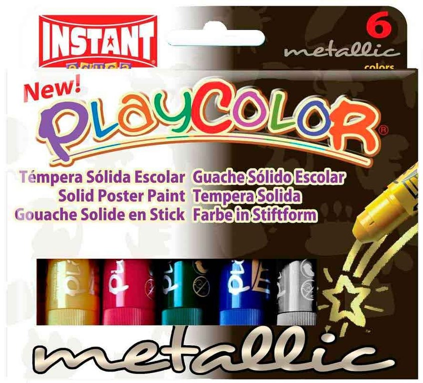 Estoig 6 barres témpera sòlida Playcolor metal·litzada 10 grs assortides