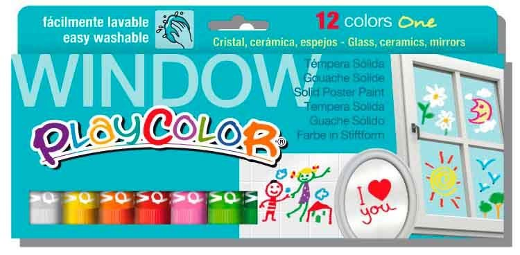 Estoig 12 barres témpera sòlida Playcolor finestres 10 grs assortides