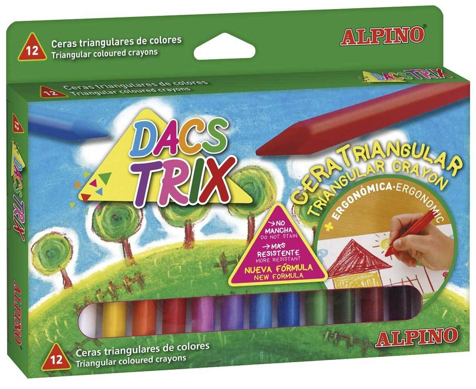 Estuche 12 ceras ALPINO Dacstrix triangulares surtidas de colores
