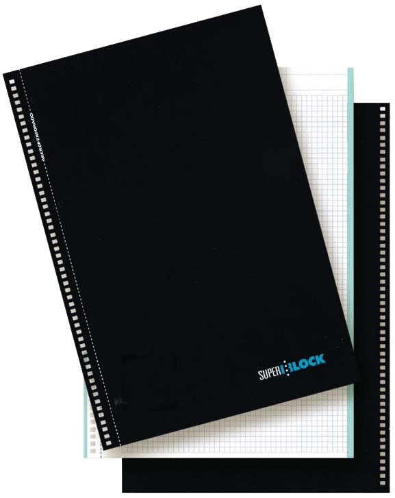 "Cuaderno espiral ""superblock"" Din-A4 160 hojas borde de color cuadrícula 5 mm"