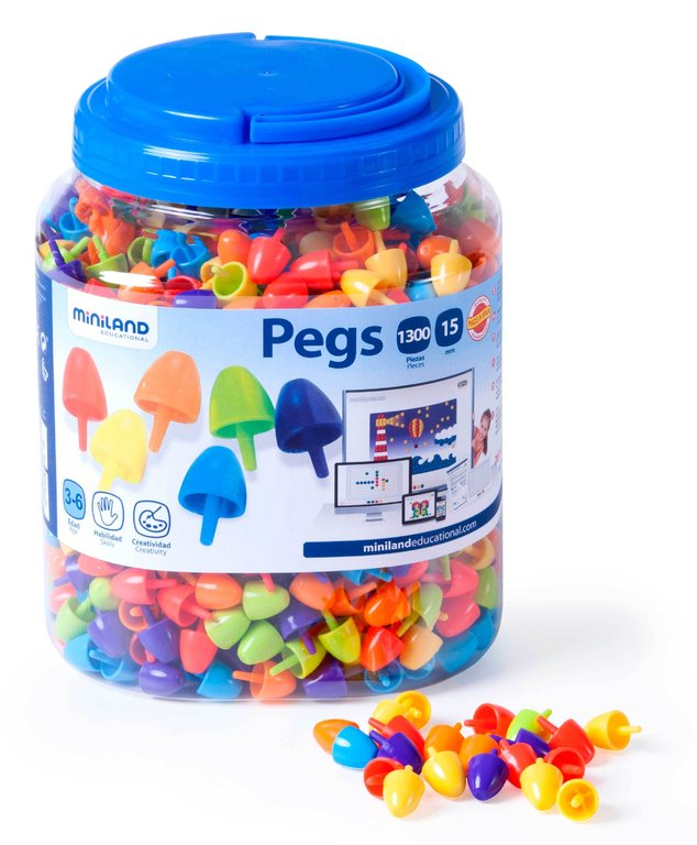 Pegs 15 mm 1300 pcs colors brillants