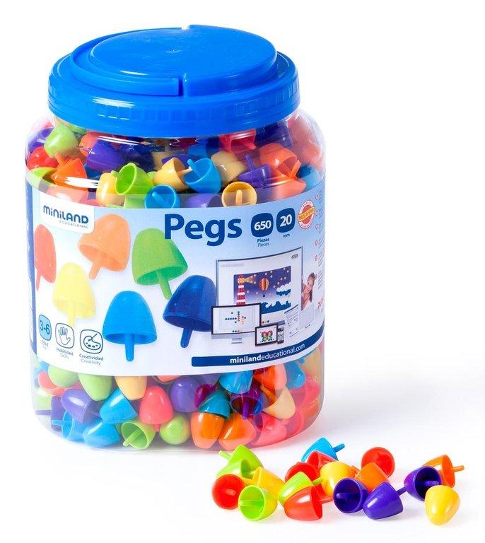 Pegs 20 mm 650 pcs colors brillants