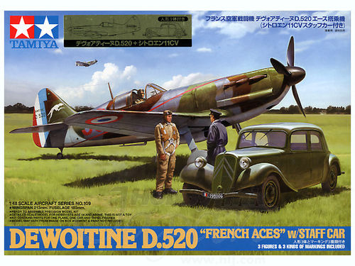 "TAMIYA 61109 1/48 Dewoitine D.520 ""French Aces"" w/Staff Car"