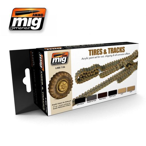 AMMO of Mig Jimenez A.MIG-7105 Tires & Tracks Color Set
