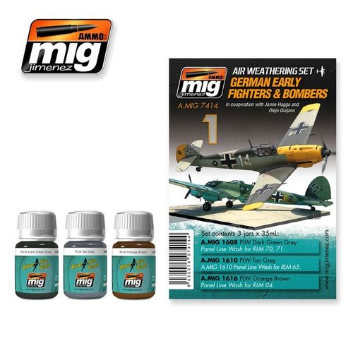 AMMO of Mig Jimenez A.MIG-7414 Set for Washes - German Early Fighters & Bombers