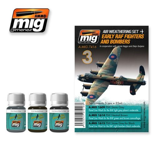 AMMO of Mig Jimenez A.MIG-7416 Set for Washes - RAF Fighters & Bombers