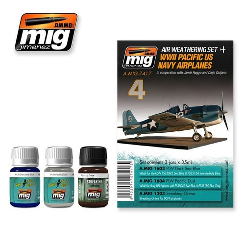 AMMO of Mig Jimenez A.MIG-7417 Set for Washes - Pacific US Navy Airplanes