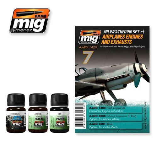 AMMO of Mig Jimenez A.MIG-7420 Weathering set - Airplanes Engines & Exhausts