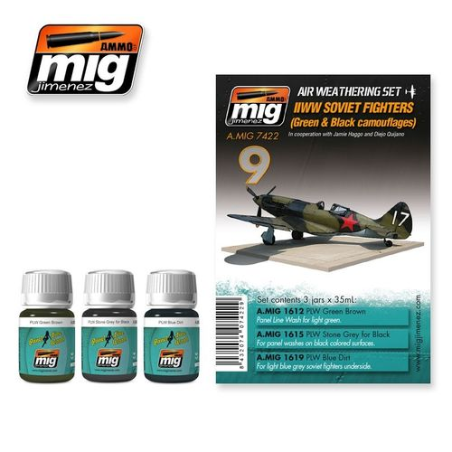 AMMO of Mig Jimenez A.MIG-7422 Set for Washes - Soviet Airplanes