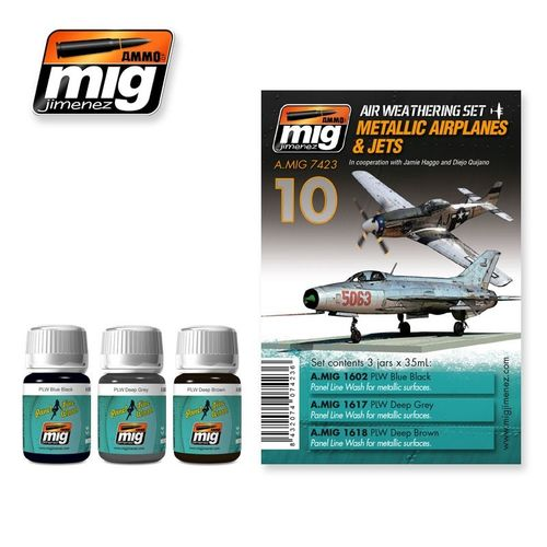 AMMO of Mig Jimenez A.MIG-7423 Set for Washes - Metallic Airplanes & Jets