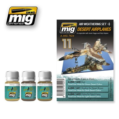 AMMO of Mig Jimenez A.MIG-7424 Set for Washes - Desert Airplanes