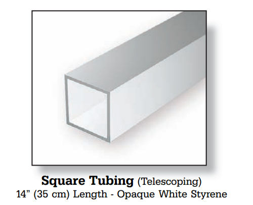 EVERGREEN Square Tubing - Opaque White Styrene