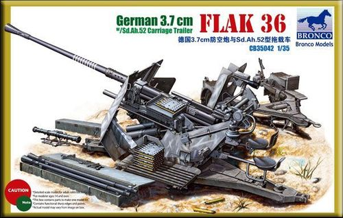 BRONCO CB35042 1/35 German 3.7cm Flak36 w/Sd.Anh.52 Carriage trailer (2in1)