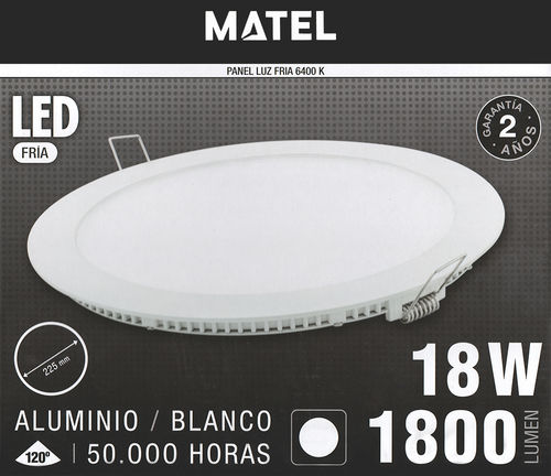 Downlight led 18W llum blanca (6400K). Matel