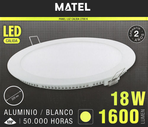 Downlight led 18W llum càlida (2700K). Matel