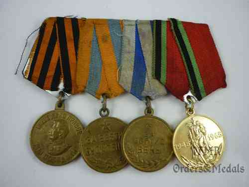 Soviet WWII medal bar with 4 medals