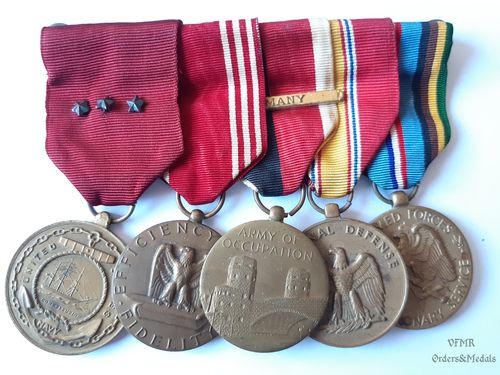Germany occupation medal bar with 5 medals, US Navy