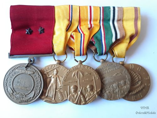 WWII medal bar with 5 medals, US Navy